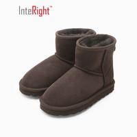 INTERIGHT 皮毛一体保暖雪地靴童靴咖啡色 29#