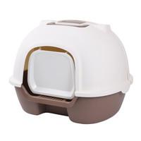 洁客(Drymax)后掀式封闭猫砂盆京东专享款宠物用咖色猫厕所