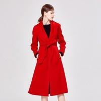 歌力思 时尚摩登系带毛呢大衣