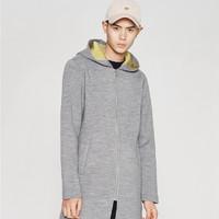 ME&CITY 517366 男装纯色修身中长款连帽卫衣大衣外套