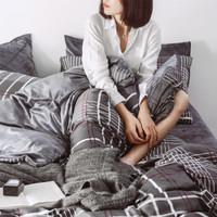 千丝雪家纺床上纯棉+水晶绒四件套全棉床上 横竖格 1.5-1.8米床/适用200*230被套