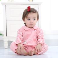 wua.wua婴儿连体衣春秋装公主款纯棉爬服0-1岁新生儿外出服哈衣四个月女宝宝衣服