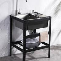 厨房不锈钢简易水槽双槽单槽带支架子洗手盆家用水池洗菜盆洗碗池