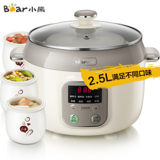 小熊(Bear)电炖锅 电炖盅 煲汤锅 养生煲 隔水炖盅 炖汤煮粥锅2.5L白瓷一锅4胆DDZ-C25K1