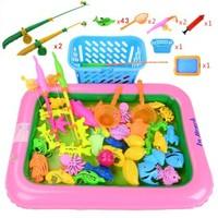 儿童充气水池钓鱼组合收纳篮 56件套装