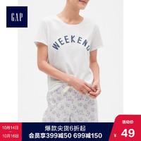 Gap女装纯棉短袖T恤夏季419681 E 2019新款女士针织圆领印花上衣