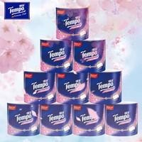 得宝(Tempo)樱花卷纸4层160g*10卷筒纸 有芯手纸加厚厕纸德宝卫生纸家用整箱装(樱花香)