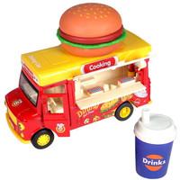 豆豆象 儿童过家家玩具车音乐可乐汉堡快餐合金回力车