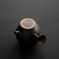 粗陶窑变鎏金黑急须侧把壶 手工拉胚出断水自如泡茶壶 单壶 功夫茶具 窑变鎏金黑急须侧把壶