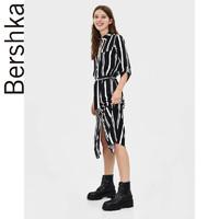 Bershka女士 2019早秋新款黑白条纹衬衫式开叉连衣裙 05452619060
