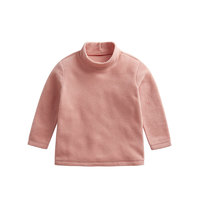 lativ 诚衣 抓绒长袖中高领打底衫中大童 粉色 120cm