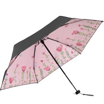 天堂伞 53036E 黑胶五折晴雨伞 幽兰众芳 浅粉色 *3件