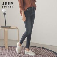 JEEP黑色加绒牛仔裤女高腰冬季加厚2019新款韩版显瘦小脚九分长裤