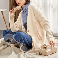 唐狮新款秋季毛衣外套女韩版针织开衫粗线外披中长款麻花宽松