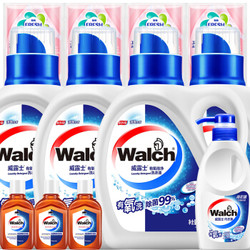 威露士Walch有氧除菌洗衣液6套装(瓶装1kg*3+袋装500g*2+内衣净300g)