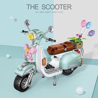 (小绵羊+展示盒)微钻颗粒创意拼插积木玩具非乐高兼容型 小绵羊摩托车