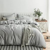 暖爱季:DAPU 大朴 60支纯棉缎纹纯色被套 银石灰 1.5m床