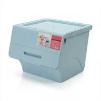 莜牧 斜口翻盖塑料整理箱收纳箱 可叠加收纳盒 3个装