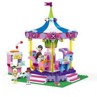 古迪(gudi)女孩积木拼装玩具摩天轮游乐场系列6-12岁生日礼物 旋转木马-9614