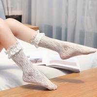 匠树  2714 洛丽塔蕾丝中筒袜1双装