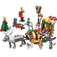 汇奇宝 圣诞麋鹿雪橇套装拼装积木