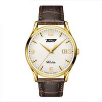 TISSOT 天梭 唯思达系列 T118.410.36.277.00 皮带石英男士手表 (牛皮、白色、圆形)