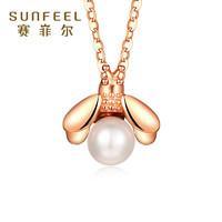 赛菲尔 18K金珍珠镶嵌项链锁骨链
