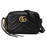 GUCCI 古驰GG Marmont系列金色标志绗缝链式相机包迷你