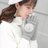 触屏手套女冬天保暖加绒加厚半指露指可爱学生防寒毛线两件套秋冬 兔毛球