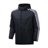 阿迪达斯男服外套夹克防风服三条纹梭织休闲运动服装EH3822