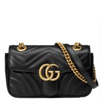 古驰 GG Marmont系列 波浪纹绗缝手袋 皮革包盖式翻盖单肩包 手提包 女包 软
