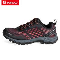 探路者(TOREAD)徒步鞋 19春夏户外女式耐磨透气徒步鞋KFAH82008 黑色/珊瑚红 39