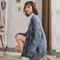 唐狮2019新款女毛衣外套加厚粗针绣花针织开衫中长款宽松线外套