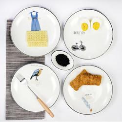 点心盘8寸陶瓷圆形早餐盘 20cm 单车