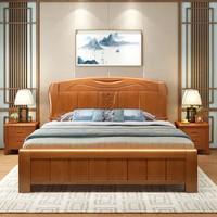 美天乐 实木床简约现代双人2米2.2m加宽加厚主卧气压高箱储物经济型(1.8*2米 床)