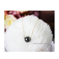 Pearlyuumi 大溪地黑蝶珍珠项链 9-10mm K18黄金/ K14白金