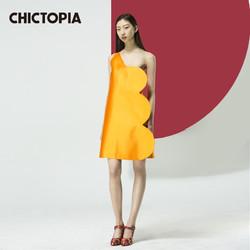 Chictopia桔色几何斜肩连衣裙