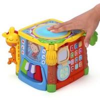 谷雨 0-1-3岁婴儿手拍鼓玩具益智早教动手能力多功能六面体儿童玩具 婴幼儿益智探索手拍鼓(六面体)+凑单品