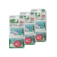 GUM 全仕康 无香型 弹性按摩齿间刷 40支 附便携盒(SSS〜S)3件装