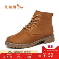 预售红蜻蜓马丁靴女英伦风ins潮冬2019新款平跟百搭显瘦短靴棉靴