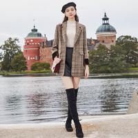 三彩2019冬季新款复古格纹呢大衣西装领毛呢外套宽松中长款上衣女