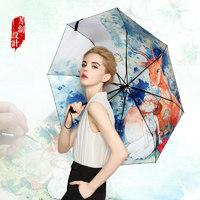 羚羊早安  插画手绘黑胶遮阳晴雨伞 3折