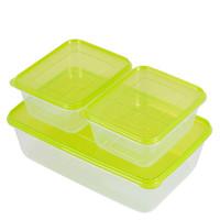 美丽雅 晶彩塑料保鲜盒组合装1000ml*2个 3800ml*1个 密封盒储物盒打包盒餐盒冷冻盒 *2件