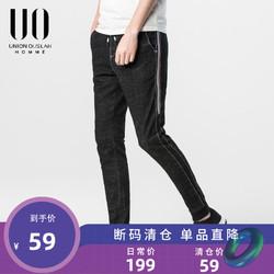 UO男装春夏季运动牛仔裤侧边织带拼接束脚裤休闲长裤男九分裤