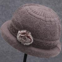 中老年帽兔毛保暖帽妈妈帽毛线帽盆帽女帽