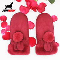 麂皮绒连指手套女冬可爱韩版学生保暖加绒加厚骑行户外包邮新品