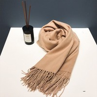 NUDEE UGG 澳洲羊毛极简流苏围巾