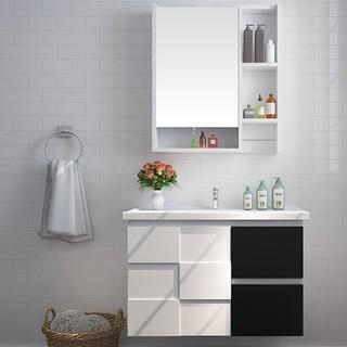 JOMOO 九牧 A2181 黑白橡实木室柜洗脸盆组合