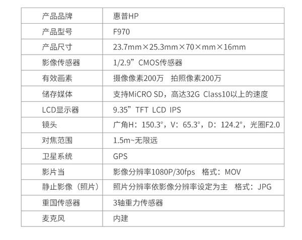 HP 惠普 F790 行车记录仪