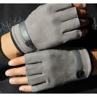 誉赫  男/女士麂皮绒半指手套黑灰色